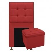 Kit Cabeceira e Calçadeira Copenhague 90 cm Solteiro Corano Vermelho - ADJ Decor