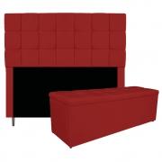 Kit Cabeceira e Calçadeira Manchester 160 cm Queen Size Corano Vermelho - ADJ Decor