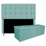 Kit Cabeceira e Calçadeira Manchester 195 cm King Size Suede Azul Tiffany - ADJ Decor