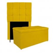 Kit Cabeceira e Calçadeira Manchester 90 cm Solteiro Suede Amarelo - ADJ Decor
