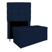 Kit Cabeceira e Calçadeira Manchester 90 cm Solteiro Suede Azul Marinho - ADJ Decor