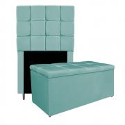 Kit Cabeceira e Calçadeira Manchester 90 cm Solteiro Suede Azul Tiffany - ADJ Decor