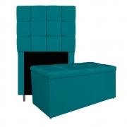 Kit Cabeceira e Calçadeira Manchester 90 cm Solteiro Suede Azul Turquesa - ADJ Decor