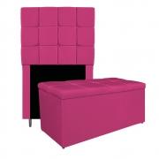 Kit Cabeceira e Calçadeira Manchester 90 cm Solteiro Suede Pink - ADJ Decor
