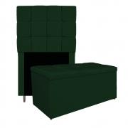 Kit Cabeceira e Calçadeira Manchester 90 cm Solteiro Suede Verde - ADJ Decor