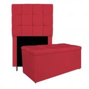 Kit Cabeceira e Calçadeira Manchester 90 cm Solteiro Suede Vermelho - ADJ Decor