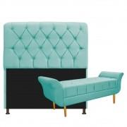 Kit Cabeceira Lady e Recamier Ari 195 cm King Size Suede Azul Tiffany - ADJ Decor