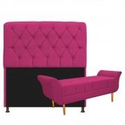 Kit Cabeceira Lady e Recamier Ari 195 cm King Size Suede Pink - ADJ Decor