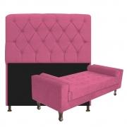 Kit Cabeceira Lady e Recamier Félix 90 cm Corano Pink - ADJ Decor