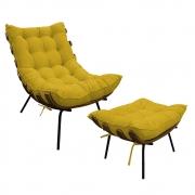 Kit Poltrona e Puff Costela Base Fixa Suede Amarelo - ADJ Decor