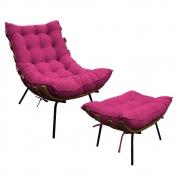 Kit Poltrona e Puff Costela Base Fixa Suede Pink - ADJ Decor