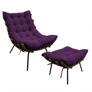 Kit Poltrona e Puff Costela Base Fixa Suede Roxo - ADJ Decor