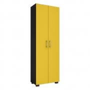 Livreiro Office Allan 02 Portas Grandes L01 Preto/Amarelo - ADJ DECOR