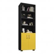 Livreiro Office Brian 02 Portas Pequenas L01 Preto/Amarelo - ADJ DECOR