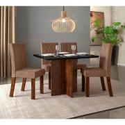Mesa de Jantar 108x90 cm Atlanta D04 com 04 Cadeiras Monaco Trufa/Preto Gloss/Linho Marrom - ADJ DECOR