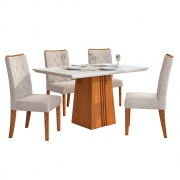 Mesa de Jantar 120x90 cm Olimpia D04 com 04 Cadeiras Cairo Telha/Creme/Linho Urbano - ADJ DECOR
