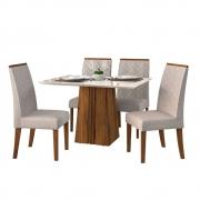 Mesa de Jantar 120x90 cm Olimpia D04 com 04 Cadeiras Manila Telha/Creme/Linho Urbano - ADJ DECOR