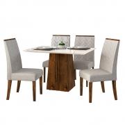 Mesa de Jantar 120x90 cm Olimpia D04 com 04 Cadeiras Manila Trufa/Creme/Linho Urbano - ADJ DECOR