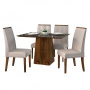 Mesa de Jantar 120x90 cm Olimpia D04 com 04 Cadeiras Manila Trufa/Preto Gloss/Linho Urbano - ADJ DECOR