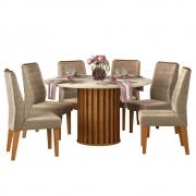 Mesa de Jantar 136 cm Pegasus D04 com 06 Cadeiras Toronto Telha/Creme/Veludo Cáqui - ADJ DECOR