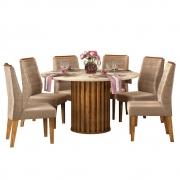 Mesa de Jantar 136 cm Pegasus D04 com 06 Cadeiras Toronto Tronco Ripado/Creme/Veludo Cáqui - ADJ DECOR