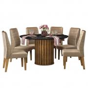 Mesa de Jantar 136 cm Pegasus D04 com 06 Cadeiras Toronto Tronco Ripado/Preto Gloss/Veludo Cáqui - ADJ DECOR