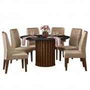 Mesa de Jantar 136 cm Pegasus D04 com 06 Cadeiras Toronto Trufa/Preto Gloss/Veludo Cáqui - ADJ DECOR