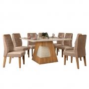 Mesa de Jantar 136x136 cm Davos D04 com 08 Cadeiras Toronto Carvalho Europeu/Creme/Veludo Cáqui - ADJ DECOR