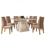 Mesa de Jantar 136x136 cm Davos D04 com 08 Cadeiras Toronto Creme/Veludo Cáqui - ADJ DECOR