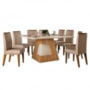 Mesa de Jantar 136x136 cm Davos D04 com 08 Cadeiras Viena Carvalho Europeu/Creme/Veludo Cáqui - ADJ DECOR