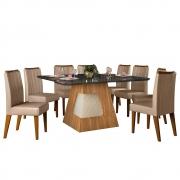 Mesa de Jantar 136x136 cm Davos D04 com 08 Cadeiras Viena Carvalho Europeu/Preto Gloss/Veludo Cáqui - ADJ DECOR