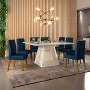 Mesa de Jantar 136x136 cm Davos D04 com 08 Cadeiras Viena Creme/Veludo Nav - ADJ DECOR