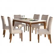 Mesa de Jantar 170x90 cm Romanzini D04 com 06 Cadeiras Cairo Telha/Creme/Linho Urbano - ADJ DECOR