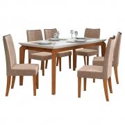 Mesa de Jantar 170x90 cm Romanzini D04 com 06 Cadeiras Copenhage Telha/Creme/Linho Marrom - ADJ DECOR