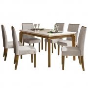 Mesa de Jantar 170x90 cm Romanzini D04 com 06 Cadeiras Copenhage Tronco Ripado/Creme/Linho Urbano - ADJ DECOR