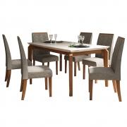 Mesa de Jantar 170x90 cm Romanzini D04 com 06 Cadeiras Manila Telha/Creme/Linho Marrom - ADJ DECOR