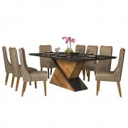 Mesa de Jantar 200X100 cm Mantis D04 com 08 Cadeiras Abu Dabi Tronco Ripado/Preto Gloss/Camurça - ADJ DECOR