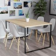 Mesa de Jantar Veneza Industrial Nature com 04 Cadeiras Eiffel Charles Eames Branco - ADJ DECOR