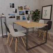 Mesa de Jantar Veneza Industrial Nature com 04 Cadeiras Eiffel Charles Eames Branco/Preto - ADJ DECOR