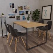 Mesa de Jantar Veneza Industrial Nature com 04 Cadeiras Eiffel Charles Eames Preto - ADJ DECOR