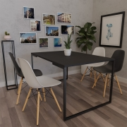 Mesa de Jantar Veneza Industrial Preto com 04 Cadeiras Eiffel Charles Eames Branco/Preto - ADJ DECOR