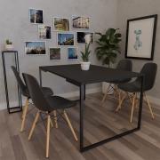 Mesa de Jantar Veneza Industrial Preto com 04 Cadeiras Eiffel Charles Eames Preto - ADJ DECOR