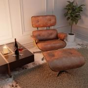 Poltrona Charles Eames com Puff Couro Ecológico Nozes - ADJ DECOR