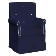 Poltrona de Amamentação Ester com Balanço Corano Azul Marinho com Botão Branco - ADJ DECOR