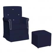 Poltrona de Amamentação Ester com Balanço e Puff Corano Azul Marinho com Botão Branco - ADJ DECOR