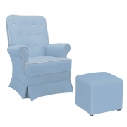 Poltrona de Amamentação Lara com Balanço e Puff Corano Azul Bebê com Botão Branco - ADJ DECOR
