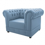 Poltrona Decorativa Chesterfield Ana Corano Azul Bebê - ADJ Decor
