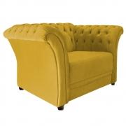 Poltrona Decorativa Chesterfield Sofia Suede Amarelo - ADJ Decor