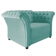 Poltrona Decorativa Chesterfield Sofia Suede Azul Tiffany - ADJ Decor