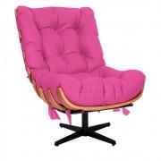 Poltrona Decorativa Costela Base Giratória Corano Pink - ADJ Decor